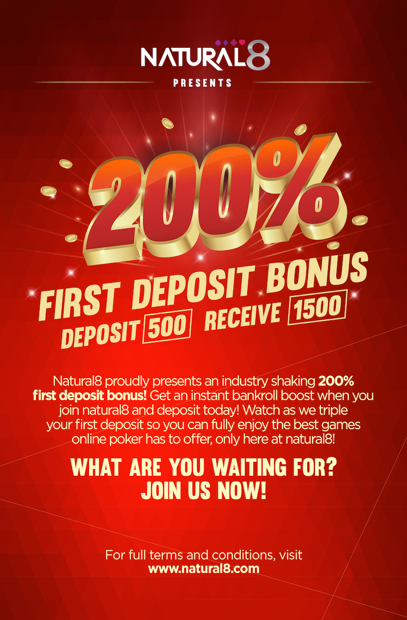 Natural8 offers new players 200% on the first deposit.