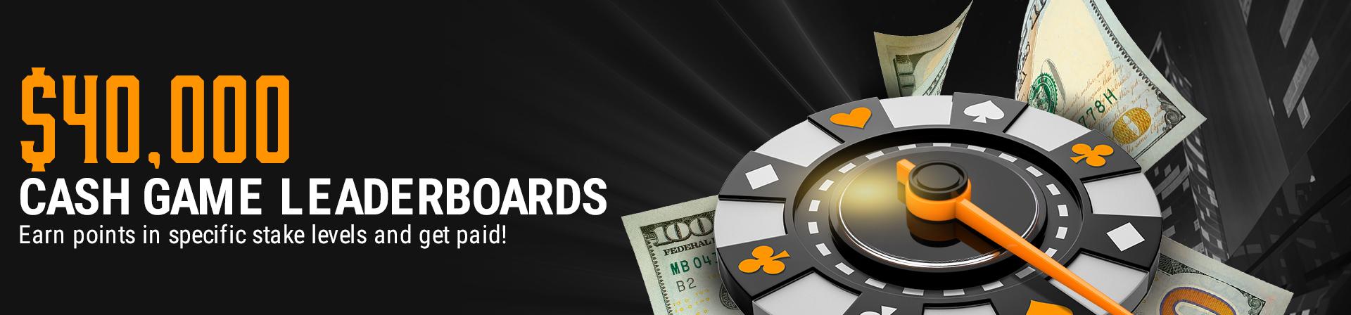 Cash game leaderboard $40,000